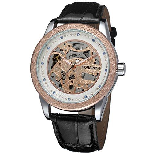 Forsining Men's Stylish Automatic Self-Wind Mechanical Skeleton Analogue Sport Wrist Watch FSG8086M3T4
