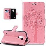 ikasus Coque LG G Stylo LS770 / LG G4 Stylus Etui Gaufrage Embosser Chat papillon Fleur Floral arbre...