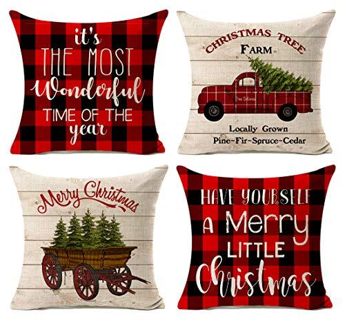 Kithomer Christmas Decorations Pillow Covers Set of 4 Christmas Buffalo Plaid Farmhouse Decor Throw Pillow Cases Retro Truck Cushion Cover 18 x 18 Inch Home Decoration