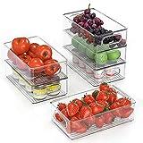 Kühlschrank Organizer 6er Set (Mittel), FINEW Hochwertig Speisekammer Vorratsbehälter mit Griff, Durchsichtig Aufbewahrungsbox Organizer, ideal für Küchen, Kühlschrank, Schränke -BPA Frei