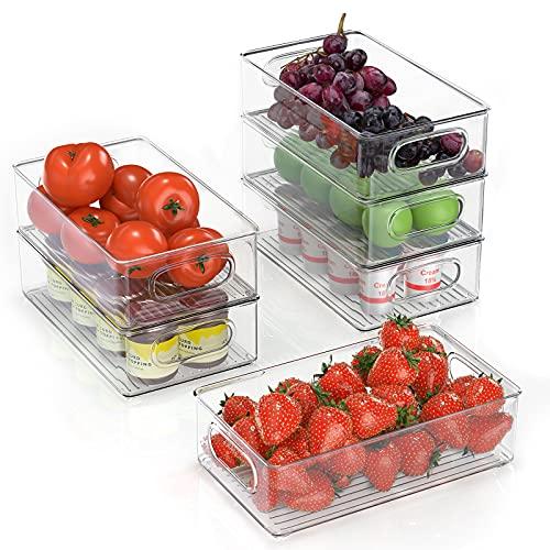 FINEW Kühlschrank Organizer 6er Set (Mittel), Hochwertig Speisekammer Vorratsbehälter mit Griff, Durchsichtig Stapelbare Aufbewahrungsbox Organizer, ideal für Küchen, Kühlschrank, Schränke -BPA Frei