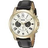 Fossil Herren Chronograph Quarz Uhr mit Leder Armband FS5272