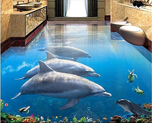 Vinilos De Pared Decorativos 3D Foto Personalizada 3D Suelo Mural Autoadhesivo Etiqueta De La Pared Dolphins Underwater World 3D Dormitorio Estereoscópico Sala De Estar Piso-200 * 140Cm Para Habitac