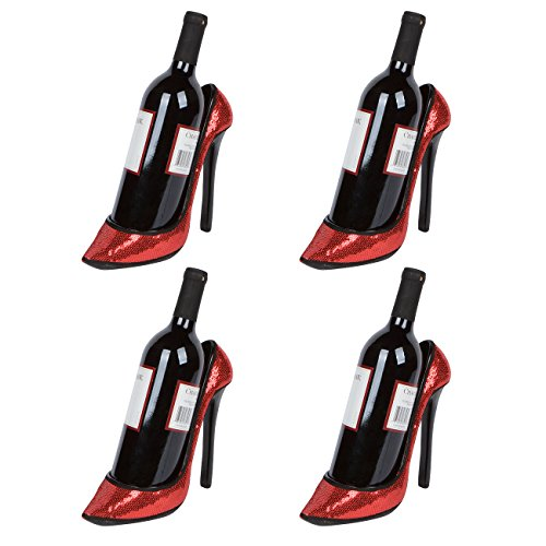 "Hilarious Home 8.5"" x 7""H High Heel Wine Bottle Holder - Stylish Conversation Starter Wine Rack (Red Sequin, Set of 4)"