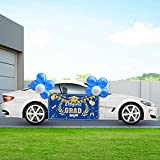 Graduation Party Decorations 2021 Graduation Parade Car Decorations Kit Congrats Grad Car Banner with Rope, Triangle Bunting Flags, Garlands String Polka Dot Hanging Swirls Blue Silver Balloons