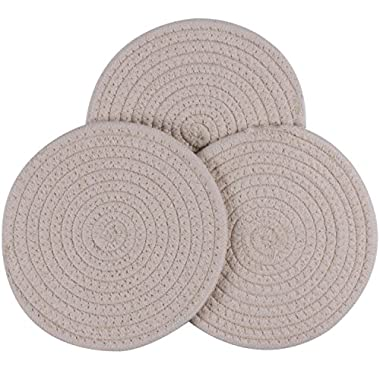 Lifaith 100% Cotton Thread Weave Pot Holders, Hot Pads, Pot Holders, Spoon Rest, Jar Opener & Coasters, For Cooking and Baking, Diameter 7 Inches, Round, Set of 3, Cream Set
