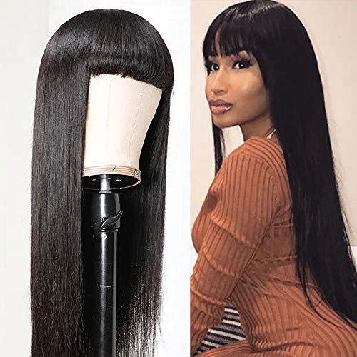 HCDIVA Brazilian Virgin Straight Human Hair Wigs with Bangs 130% Density None Lace Front Wigs Glueless Machine Made Wigs for Black Women Natural Color。(22 inch, Machine Made Wig)