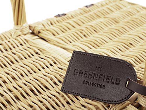Greenfield Collection Park Lane Willow Picnic Hamper for Four People - Fitted Picnic Hamper Range