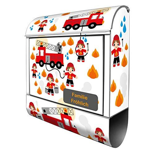 Banjado Design Briefkasten personalisiert mit Motiv Feuerwehr | Stahl pulverbeschichtet mit Zeitungsrolle | Größe 39x47x14cm, 2 Schlüssel, A4 Einwurf, inkl. Montagematerial