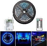 Tiras de LED a pilas 3 metros, 90 ledes, con mando a distancia, temporizador, 8 modos, regulable, autoadhesivo para TV, cocina, armario, dormitorio, decoración de casa (3 m/90 L), color azul