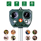 AWLGAK Cat Repellent, Solar Outdoor Animal Repeller Ultrasonic Waterproof Animal Repeller Solar Operated Fox...