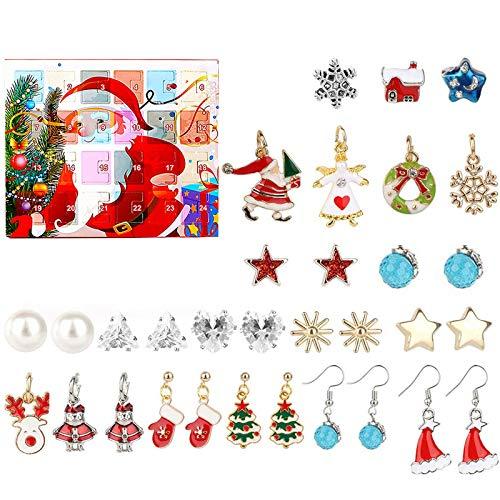 Schmuck-Adventskalender 2020, Weinachtskalender 24 Schmuck Ohrringe Ohrstecker, Weihnachten Geschenk für Damen Mädchen (Set A)