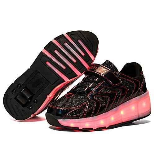 MNVOA Unisex Kinder Mode LED USB Schuhe mit Rollen Drucktaste Einstellbare Skateboardschuhe Outdoor Gymnastik Turnschuhe Für Junge Mädchen Jungs,Black 1 Wheel,28 EU