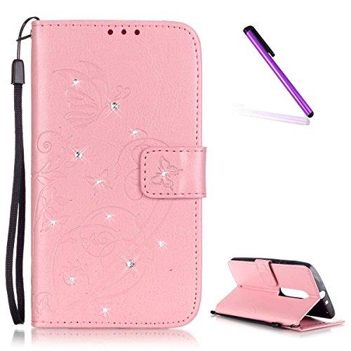 EMAXELERS Moto X Play hülle Diamant Bling Schmetterling Ledertasche Slim PU Leder Bookstyle Handyhülle Tasche Wallet Case Cover Handytasche für Moto X Play,Pink Butterfly with Diamond