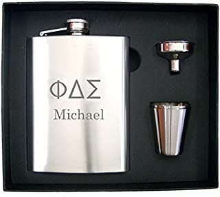 Personalized Greek Letters Engraved Fraternity Flask Gift Set - Free Engraving