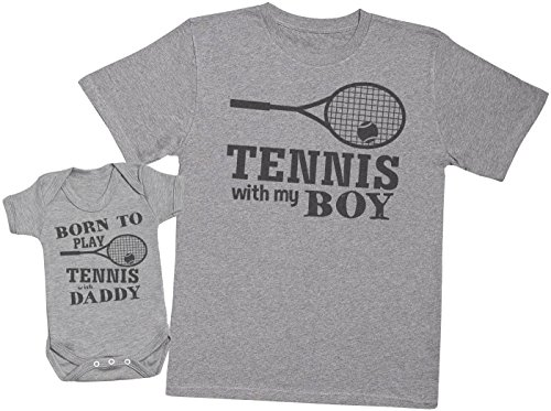 Zarlivia Clothing Born to Play Tennis with Daddy - Passende Vater Baby Geschenkset - Herren T-Shirt & Baby Strampler/Baby Body - Grau - Large & 0-3 Monate