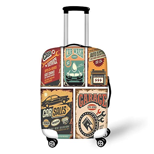 Reizen Bagage Cover Koffer Beschermer, Vintage Decor, Nostalgische Kunst Auto Service Garage Funk Stijl Highway Logo Reparatie Road Grunge Decor, Multi, voor Reizen