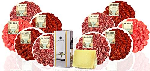 San Jamón - Cesta de Regalo Gourmet Ibérico. Lomo, Chorizo, Salchichón Ibéricos, Queso Manchego y Aceite de Oliva Virgen Extra