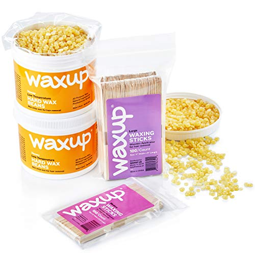 waxup Professional Hard Wax Beans for Hair Removal, Brazilian Hard Wax Beads kit, Natural Honey Wax Hair Removal, 36 oz Large Refill wax Pearl, 200 assorted Waxing Sticks. Bikini Waxing Kit.