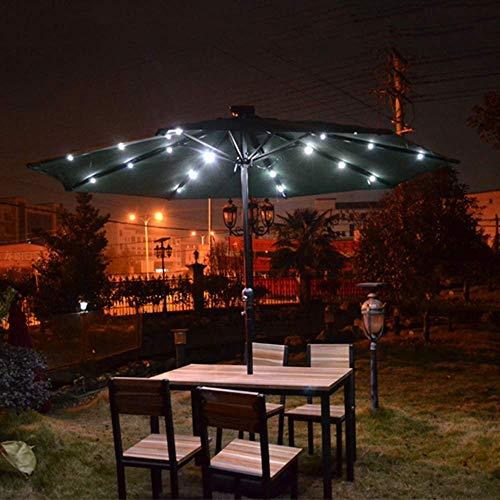 ZEH Paraguas al Aire Libre, 2.7m Grande Casual Parasol, con Solar de luz LED Parasol, Eje de balancín de Apertura y Cierre, Conveniente for Patio, Jardín, Balcón FACAI