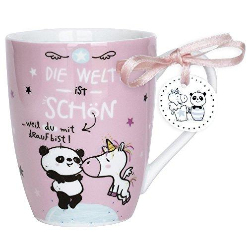 Hope und Gloria 45347 Kaffee-Tasse Panda und Einhorn, Die Welt ist schön, Porzellan-Tasse, 40 cl, mit Geschenk-Anhänger, Rosa