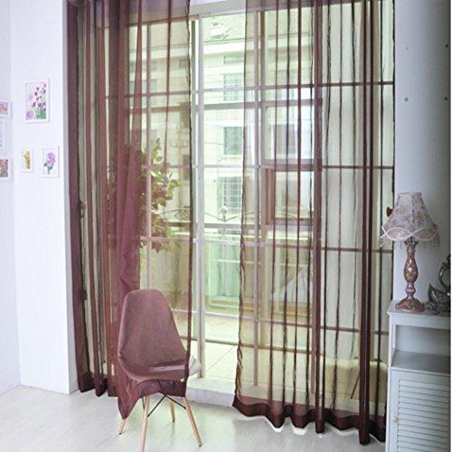 Rideau Design Moderne, Kolylong 2017 1PC Beau Pure Color Tulle porte fenêtre rideau Drapé Panneau de cantonnières écharpe Sheer Style simple 200cm * 100cm (vin rouge)