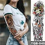Adesivo per tatuaggi impermeabili in pitone arte del tatuaggio manica grande braccio Ragazza pavone Lotus