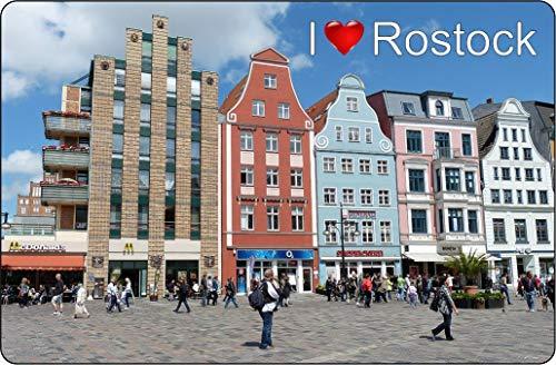 Cadora Magnetschild Kühlschrankmagnet I Love Rostock III