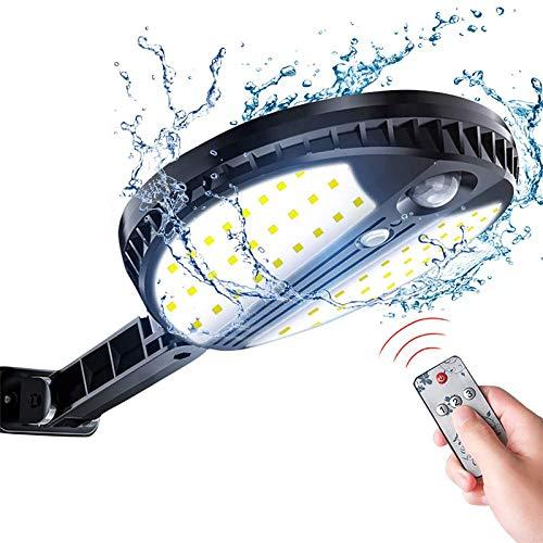 Lámpara solar de pared con 60 ledes, lámpara solar para exterior, sensor de movimiento solar, luces de seguridad IP65, resistente al agua, luces de pared con elementos giratorios instalados