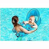 L&WB Aufblasbarer Säuglingsschwimmen-Ring des Baby-Schwimmers, Mama und Baby-Pool-Schwimmkörper mit entfernbarer Sonne für Schwimmen-Training, rittbarer sicherer Baby-Schwimmkörper mit Fall,C