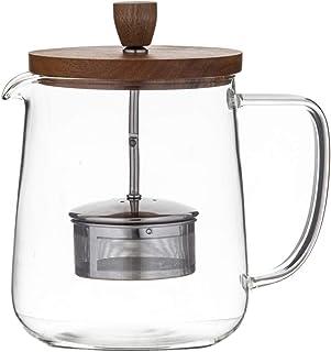 LEAF & BEAN Naples Tea Pot with Acacia Lid & Infuser Naples Tea Pot with Acacia Lid & Infuser, Clear/Natural, DLE0064