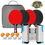 SULPOW Raqueta de Tenis de Mesa, Table Tennis Set, 4 Raquetas + 6 Pelotas de Ping-Pong + Retráctil Table Tennis Net