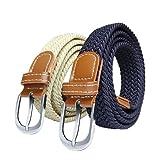 SWAUSWAUK 2 Piezas Cinturón Elástico para Mujer - Cinturón Elástico Fino y Cómodo para Damas Cinturón Ancho 2,5 cm Elástico Trenzado para Jeans Pantalones Cortos Falda Vestido(Azul Marino, Caqui)