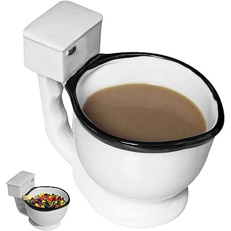 Evelots Taza de café para inodoro, cerámica, té, bebidas y caramelos, 10 onzas