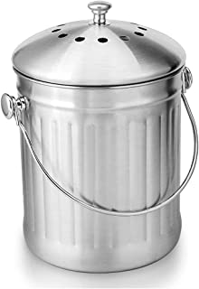 Stainless Steel Compost Bin, Food Recycling Bin with Deodorant Layer, Moisture-Proof Bucket, Reinforced with Solid Metal A...