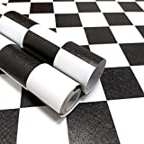 White Black Contact Paper Mosaic Trellis Peel and Stick Wallpaper17.7'×118'Lattice Self Adhesive Removable Wallpaper Decorative Checkerboard Paper for Bathroom Cabinet Shelf Drawer Liner Countertop