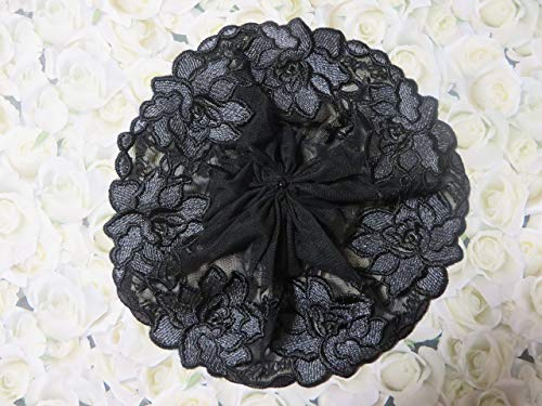 Handmade black embroidered tulle lace doily head cover with silver grey flowers and black bead (with attached comb)(Style 1015) Elegant Doily Exclusive