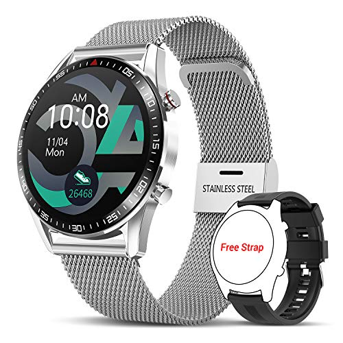 Tagobee Smartwatch Orologio Fitness Uomo Donna,L28 Elegante Acciaio Smart Watch Bluetooth Digitale Cardiofrequenzimetro da polso Contapassi Impermeabi
