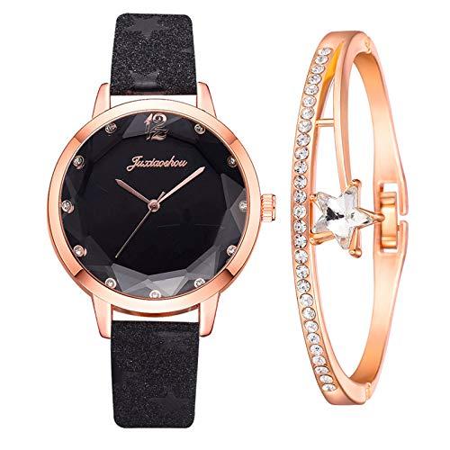 Yue668 Mode Damen Quarz Uhr mit Edelstahl/PU Leder Armband, Lässige Armbanduhr Mit Elegante Armbänder, Frauenuhren Damenuhr Geschenk für Frauen Damen (A2)