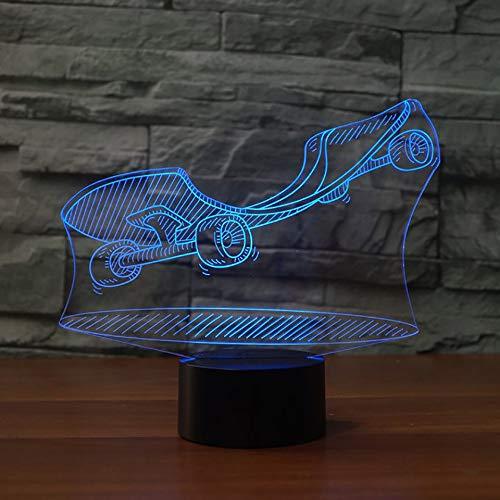 Aoyuhf Licht Der Nacht 3D 3D Vision Led Nachtlicht Skateboard Modell 7 Laterne Kinder Touch Usb Street Art Tischlampe Baby Schlaf Nachtlicht