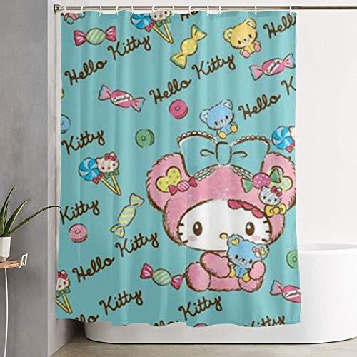 ChenZhuang Duschvorhang Candy Hello Kitty Kunstdruck, Polyester Stoff Badezimmer Dekorationen Kollektion mit Haken - 60 x 72 Zoll