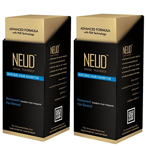 NEUD Natural Hair Inhibitor for Permanent Reduction of Unwanted Body & Facial Hair in Men & Women - Pack of 2 NEUD