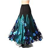 Flamenco Skirts for Women Spanish Latin Waltz Tango Ballroom Dance Dress Long Swing Glitter Sequin Floral Skirt Blue