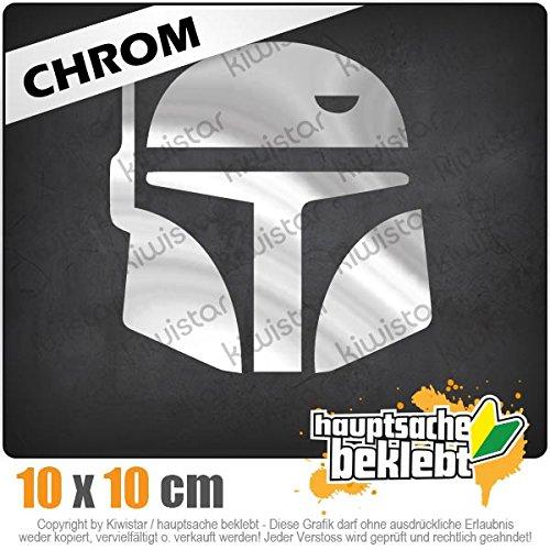 Kiwistar Boba Fett Helm 10 x 10 cm IN 15 Farben - Neon + Chrom! Sticker Aufkleber
