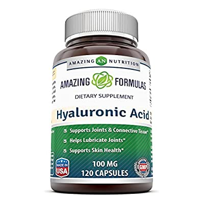 Amazing Formulas Hyaluronic Acid 100 mg 120 Capsules - Support Healthy Connective Tissue and Joints - Promote Youthful Healthy Skin