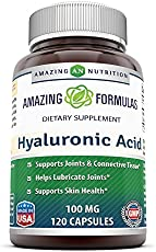 Amazing Formulas Hyaluronic Acid 100 mg 120 Capsules (Non-GMO,Gluten Free) - Support Healthy Connective Tissue and Joints - Promote Youthful Healthy Skin