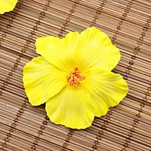 NAVACA 10PCS Hibiscus Flowers Hawaii Party Summer Party DIY Decorations Artificial Flowers Hula Girls Favor Hair Decoration Flower -Yellow
