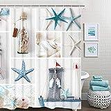 "Nautical Shower Curtain, Marine Sail Boat Beach Starfish Shell Sea Life Shower Curtain with 12 Hooks, Waterproof Shower Curtain (White Blue #1, 70"" L × 69"" W)"