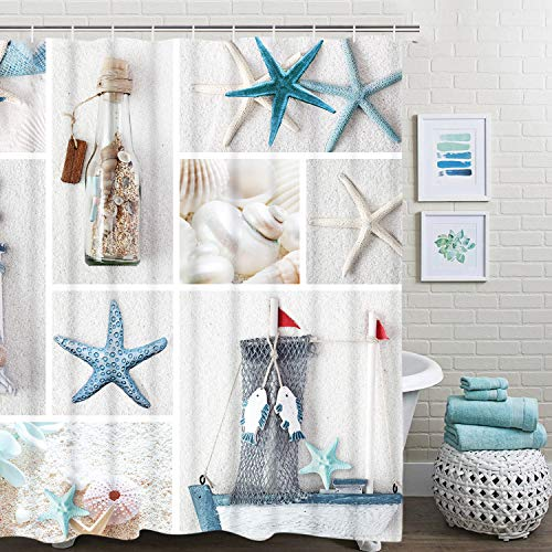 "Nautical Shower Curtain, Marine Sail Boat Beach Starfish Shell Sea Life Shower Curtain with 12 Hooks, Waterproof Shower Curtain (White Blue #1, 70"" L × 69"" W)"