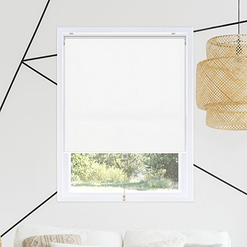 Chicology Cordless Roller Shades Snap-N'-Glide, Blackout Window Treatments Perfect for Living Room/Bedroom/Nursery/Office and More.Byssus White (Room Darkening), 23'W X 72'H